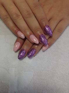 Almond pink and purple gel nails
