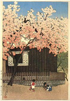 hanga gallery . . . torii gallery: Mt. Atago, Spring by Kawase Hasui