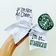 IF IM NOT AT CHEER IM AT STARBUCKS! Cheer bow! Holographic spandex! Ponytail holder attached! FREE SHIPPING!