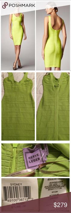 Authentic Herve Leger Sydney Dress *Price is Firm* Authentic Lime HL Sydney dress. Flawless condition! Worn Once and dry cleaned. Approx measurements as Follows Bust 30 Waist 24 Hips 30 Length 37. All sold items are fully videotaped at the time of shipment to prevent unjust returns. Know your size. No Trades. Herve Leger Dresses Mini