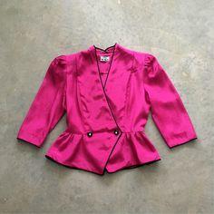 Excited to share the latest addition to my #etsy shop: hot pink 80s peplum jacket | nu mode 80s pink jacket | pink and black 1980s jacket | 1211212 https://etsy.me/2EKhSar #clothing #women #jacket #pink #black #hotpinkjacket #peplumjacket #vintagepeplumtop