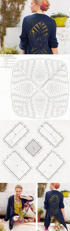 Кардиган-фрак с ажурной спинкой - схема вязания спицами. Вяжем Кардиганы на Verena.ru