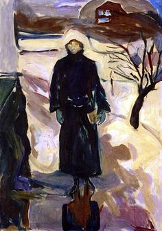 WOMAN BY THE HOUSE CORNER 1924 by Edvard Munch