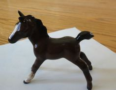 Beswick Horse Foal Small Stretched Facing Left, Model 997  Brown Gloss, #Beswick