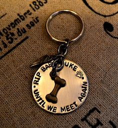 **NEW** The loss of a beloved pet can be one of the most difficult things we ever have to face. Often times it brings us comfort to create a memorial for our furbaby that has passed over the rainbow bridge. This personalized keychain is one way to create that memory. $15 with 10% of proceeds donated to a local animal rescue or the rescue of your choice.  Pet Memorial Personalized Keychain by Pawsitively Purrfect on Etsy, $15.00