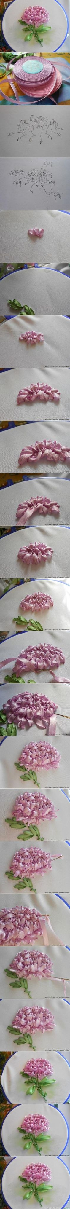 ribbon embroidery chrysanthemum tutorial by myrna                                                                                                                                                                                 More