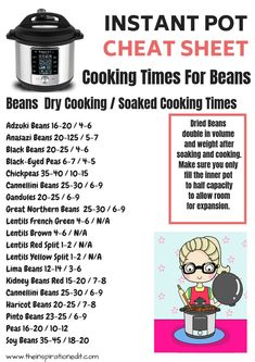 Instant Pot Dried Beans Cooking Times · The Inspiration Edit Instant Pot Dried Beans Cooking Times. Grab the free cheatsheet here. Instant Pot Beans Recipe, Lentils Instant Pot, Dry Beans Recipe, Instant Pot Dinner Recipes, Recipes Dinner, Cooking Dried Beans, Cook Beans, How To Soak Beans, Pots