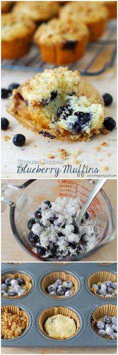These delicious Blueberry Muffins have a crunchy Pecan Streusel Topping. This cake-like muffin recipe is perfect for breakfast with a cup of steaming coffee!