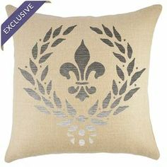 """Handmade burlap pillow with a silver crest motif.  Product: PillowConstruction Material: Burlap cover and cotton fillColor: Beige and silverFeatures:  Handmade by TheWatsonShopZipper enclosureMade in the USA  Insert includedDimensions: 16"""" x 16""""Cleaning and Care: Spot clean, do not iron"""