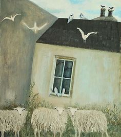 theworkhousepainter:  would be happy to hang this in my house    Hannah Hann  Derelict Croft with sheep  (via Josie Eastwood Fine Art)