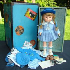 C1937 Effanbee Patricia Anne Shirley Doll Original Wardrobe, Trunk, & Provenance - Originally Pictured in the F.A.O. Schwarz Catalogue in 1936 - Costume from 1934 movie 'Anne of Green Gables'