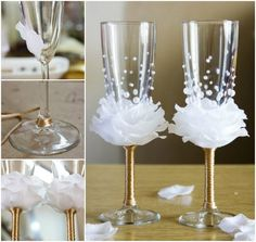 Flower-Bead Decorated Wine Glasses