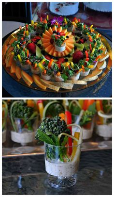 A delicious fruit and veggie shooters platter. #Amazing party appetizers #Beautiful dip #Party platter #Healthy