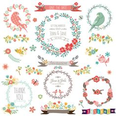 Variety Ornaments Flowers Birds Love Decoration Wedding Design Elements Digital ClipArt cards Invitation Label Tags WS416 INSTANT DOWNLOAD by SasiyaDesigns on Etsy