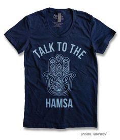 Talk to the hamsa graphic print American Apparel Women's Round neck T-shirts