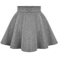 Inshine Women Khaki/Grey/Black 3 Colors Woolen High Waist Tutu Skater... ($30) ❤ liked on Polyvore featuring skirts, black high waisted skirt, khaki skirt, black tutu, grey tutu and high waisted circle skirt
