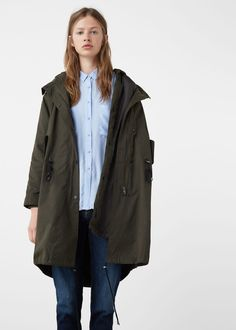 Faux shearling-lined parka - Coats for Woman | MANGO USA
