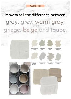 ***Color How to tell the difference between grey gray griege beige warm grey and taupe! Taupe Paint Colors, Warm Gray Paint, Interior Paint Colors, Paint Colors For Home, House Colors, Taupe Color, Grey Beige Paint, Paint Decor, Interior Design