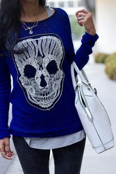 Cobalt skull knit by Spellbound.