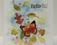 Butterfly and Leaves card. images Stampin'Up!...fall colors...Hand stamping...Work of Art water color card...Thanksgiving...Just a note Card