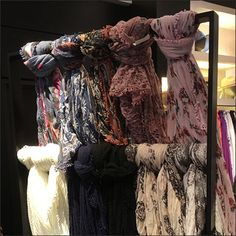 Scarf Curtain Wall On Casters At Nordstrom – Fixtures Close Up Scarf Curtains, Scarf Rack, Scarf Knots, Nordstrom, Retail, Hair Styles, Wall, Fabric, Shop