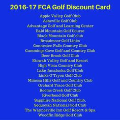2016-17 FCA Golf Discount Card - Just $20 for 20 Courses!