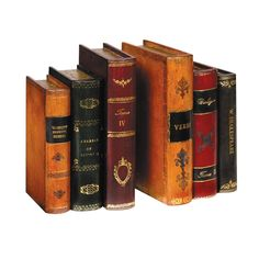 Handmade Leather Books Bookends   --   These tasteful bookends featuring antique Florentine work are handmade in Italy, exclusively for us, of leather over wood. Not only will they show off a selection of your favorite volumes, but also they will support particularly heavy ones.