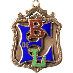 10K  BLE ,  Brotherhood of Locomotive Engineers enameled pendant , watch fob  ...................... Hand engraved on back:  J. Shields  .........