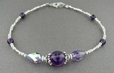 Amethyst Anklet,  Ankle Bracelet or Plus Size Bracelet in Sterling Silver with Amethyst Center Station - 9 inch, 10 inch, or 11 inch on Etsy, $30.00