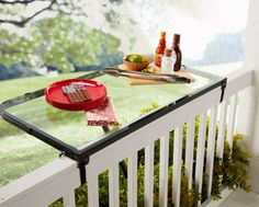 Rail tray that folds two ways -in the balcony or out of it, to create more useful surface!
