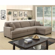 Leather Sofas Poundex Bobkona Fairfax Waffle Suede Sectional Sofa in Charcoal