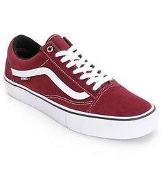 Vans Old Skool Pro Skate Shoes (Mens) Red Vans Shoes bb2335bd4