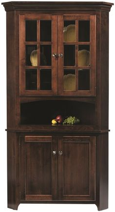 Elisee Shaker Corner Hutch in Brown Maple