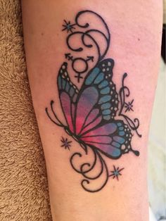 Lovely Colored Butterfly Tattoo