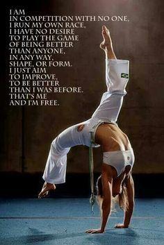 la única persona a quien trato de superar es a mi misma!! :) motivación frase BJJ I am free