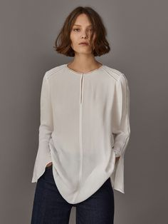Fall Winter 2017 Women´s LACE-TRIMMED OVERSIZED BLOUSE WITH RUFFLED SLEEVES at Massimo Dutti for 89.5. Effortless elegance!