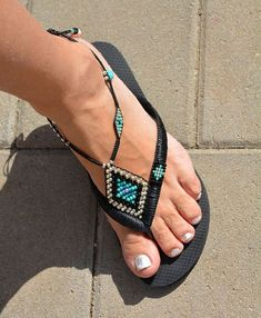 These are interesting. Not sure I'd like them if they are Bohemian Sandals Hippie Sandals Women Sandals difficult to put on. Flip Flops - The latest in Bohemian Fashion! These literally go viral!Take a look at the tips below, and that means you can place Beaded Foot Jewelry, Beaded Sandals, Decorating Flip Flops, Bohemian Sandals, Sandals Outfit, Hippie Style, Boho Style, Bare Foot Sandals, Anklets