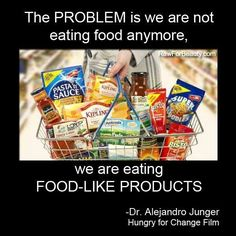 The problem is we're eating food-like products... -Dr Junger, Hungry for Change film