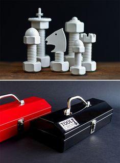 Tool chess set.  --------  Men's Gear, Gadgets For Guys | Gift Guide For Men | werd.com