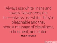 I have come to agree with this home interiors tip--switching to white in our house too, at least for bed linens. Looking forward to reading the rest of the 35 Decorating Secrets from Top Interior Designers. Organizar Closets, Interior Minimalista, H & M Home, Top Interior Designers, Do It Yourself Home, Barndominium, Home Interior, Interior Paint, Interior Architecture