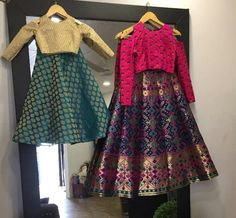 Another style for weddings, love the blouse design here Kids Indian Wear, Kids Ethnic Wear, Indian Dresses, Indian Outfits, Little Girl Dresses, Girls Dresses, Baby Dresses, Kids Lehenga, Kids Gown