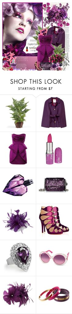 """""""Effie Trinket......."""" by purplecherryblossom ❤ liked on Polyvore featuring PLANT, Milly, Temperley London, Lime Crime, Diesel, Juicy Couture, Hobbs, Christian Louboutin, Jon Richard and Minuet"""