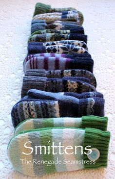 DIY Smittens by therenegadeseamstress: Turn your old sweaters into warm mittens. #DIY #Sweater_Mittens #Upcycle