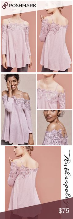"Anthropologie Laceline Off-The-Shoulder Top Gorgeous flattering off the shoulder top by Meadow Rue in soft cotton lavender features beautiful lace appliqué shoulders giving it a romantic look, fits true to size length:22"" Anthropologie Tops"