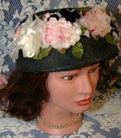 Love vintage hats!  Black Sisal Straw Beret Toque Bonnet Dress Hat with Pink Flowers & Velvet Bows - Downton Abbey Style