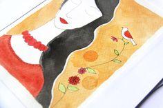 Mujer primavera- Dibujo original de Caixa de Mistos por DaWanda.com