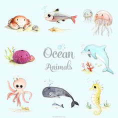 Ocean animals. watercolor illustrations by Afsaneh Tajvidi