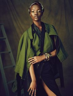 """Couleur Cafe,"" by Dress to Kill Magazine Features Herieth Paul: Over The Knee, Style Pantry, Afro Style, African Models, Olive Green Color, Karen, Black Models, Top Models, Africa Fashion"