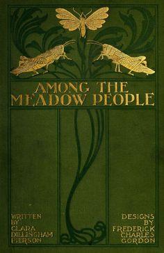 couverture de livre : Art Nouveau, vert olive-doré, insectes, animaux