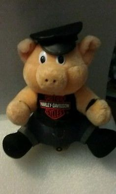 "Plush Hog Harley Davidson Motorcycles 12"" Stuffed Vintage 1993 Pig Collectible"